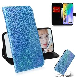 Laser Circle Shining Leather Wallet Phone Case for Huawei Y6p - Blue