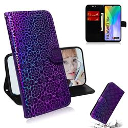 Laser Circle Shining Leather Wallet Phone Case for Huawei Y6p - Purple