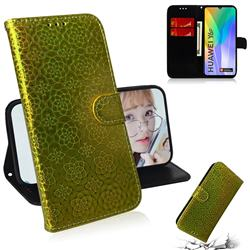 Laser Circle Shining Leather Wallet Phone Case for Huawei Y6p - Golden