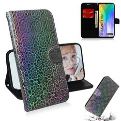 Laser Circle Shining Leather Wallet Phone Case for Huawei Y6p - Silver