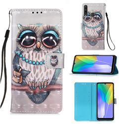 Sweet Gray Owl 3D Painted Leather Wallet Case for Huawei Y6p