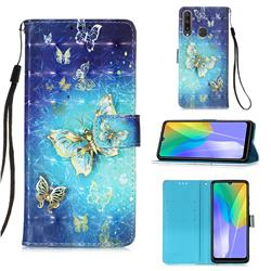Gold Butterfly 3D Painted Leather Wallet Case for Huawei Y6p