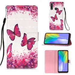 Rose Butterfly 3D Painted Leather Wallet Case for Huawei Y6p