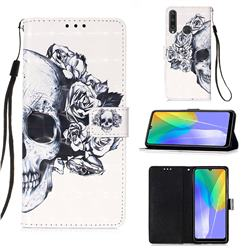 Skull Flower 3D Painted Leather Wallet Case for Huawei Y6p