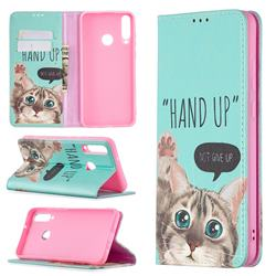 Hand Up Cat Slim Magnetic Attraction Wallet Flip Cover for Huawei Y6p