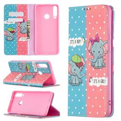 Elephant Boy and Girl Slim Magnetic Attraction Wallet Flip Cover for Huawei Y6p