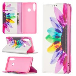 Sun Flower Slim Magnetic Attraction Wallet Flip Cover for Huawei Y6p