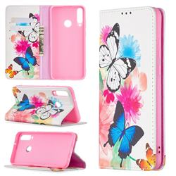 Flying Butterflies Slim Magnetic Attraction Wallet Flip Cover for Huawei Y6p