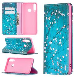 Plum Blossom Slim Magnetic Attraction Wallet Flip Cover for Huawei Y6p