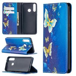 Gold Butterfly Slim Magnetic Attraction Wallet Flip Cover for Huawei Y6p