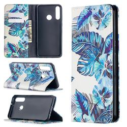 Blue Leaf Slim Magnetic Attraction Wallet Flip Cover for Huawei Y6p