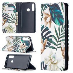 Flower Leaf Slim Magnetic Attraction Wallet Flip Cover for Huawei Y6p