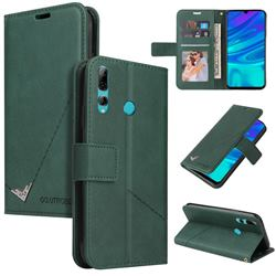 GQ.UTROBE Right Angle Silver Pendant Leather Wallet Phone Case for Huawei Y6p - Green