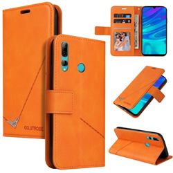GQ.UTROBE Right Angle Silver Pendant Leather Wallet Phone Case for Huawei Y6p - Orange