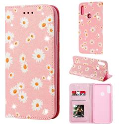 Ultra Slim Daisy Sparkle Glitter Powder Magnetic Leather Wallet Case for Huawei Y6s (2019) - Pink
