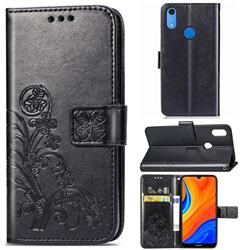 Embossing Imprint Four-Leaf Clover Leather Wallet Case for Huawei Y6s (2019) - Black