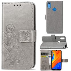 Embossing Imprint Four-Leaf Clover Leather Wallet Case for Huawei Y6s (2019) - Grey
