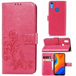Embossing Imprint Four-Leaf Clover Leather Wallet Case for Huawei Y6s (2019) - Rose Red