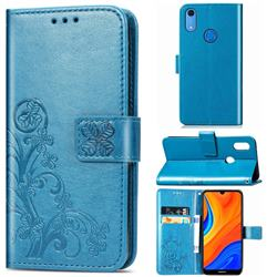 Embossing Imprint Four-Leaf Clover Leather Wallet Case for Huawei Y6s (2019) - Blue