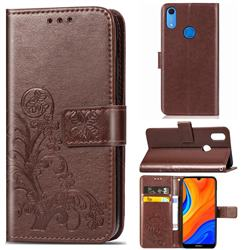 Embossing Imprint Four-Leaf Clover Leather Wallet Case for Huawei Y6s (2019) - Brown