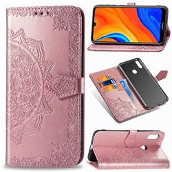 Embossing Imprint Mandala Flower Leather Wallet Case for Huawei Y6s (2019) - Rose Gold