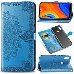 Embossing Imprint Mandala Flower Leather Wallet Case for Huawei Y6s (2019) - Blue