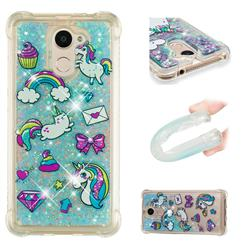 Fashion Unicorn Dynamic Liquid Glitter Sand Quicksand Star TPU Case for Huawei Y7(2017)