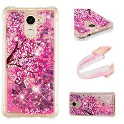 Pink Cherry Blossom Dynamic Liquid Glitter Sand Quicksand Star TPU Case for Huawei Y7(2017)