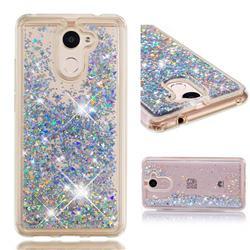 Dynamic Liquid Glitter Quicksand Sequins TPU Phone Case for Huawei Y7(2017) - Silver