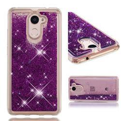 Dynamic Liquid Glitter Quicksand Sequins TPU Phone Case for Huawei Y7(2017) - Purple