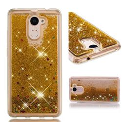 Dynamic Liquid Glitter Quicksand Sequins TPU Phone Case for Huawei Y7(2017) - Golden