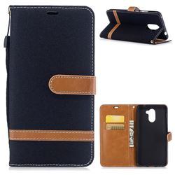 Jeans Cowboy Denim Leather Wallet Case for Huawei Y7(2017) - Black