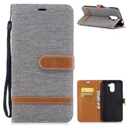 Jeans Cowboy Denim Leather Wallet Case for Huawei Y7(2017) - Gray