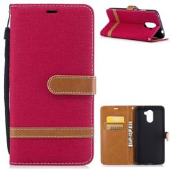 Jeans Cowboy Denim Leather Wallet Case for Huawei Y7(2017) - Red