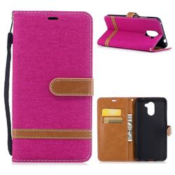 Jeans Cowboy Denim Leather Wallet Case for Huawei Y7(2017) - Rose