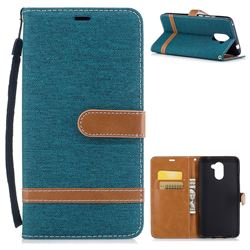 Jeans Cowboy Denim Leather Wallet Case for Huawei Y7(2017) - Green