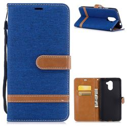 Jeans Cowboy Denim Leather Wallet Case for Huawei Y7(2017) - Sapphire