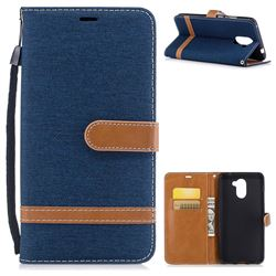 Jeans Cowboy Denim Leather Wallet Case for Huawei Y7(2017) - Dark Blue