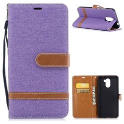 Jeans Cowboy Denim Leather Wallet Case for Huawei Y7(2017) - Purple