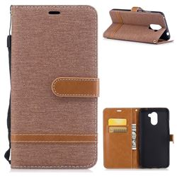Jeans Cowboy Denim Leather Wallet Case for Huawei Y7(2017) - Brown
