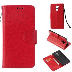 Retro Phantom Smooth PU Leather Wallet Holster Case for Huawei Y7(2017) - Red