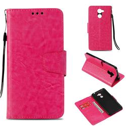 Retro Phantom Smooth PU Leather Wallet Holster Case for Huawei Y7(2017) - Rose
