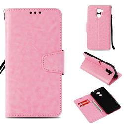 Retro Phantom Smooth PU Leather Wallet Holster Case for Huawei Y7(2017) - Pink