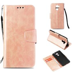 Retro Phantom Smooth PU Leather Wallet Holster Case for Huawei Y7(2017) - Rose Gold