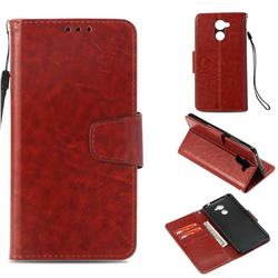 Retro Phantom Smooth PU Leather Wallet Holster Case for Huawei Y7(2017) - Brown