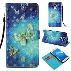 Gold Butterfly 3D Painted Leather Wallet Case for Huawei Y7