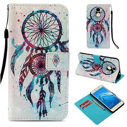 ColorDrops Wind Chimes 3D Painted Leather Wallet Case for Huawei Y7(2017)