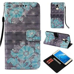 Blue Flower 3D Painted Leather Wallet Case for Huawei Y7