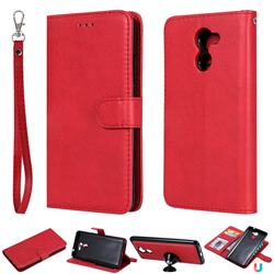Retro Greek Detachable Magnetic PU Leather Wallet Phone Case for Huawei Y7(2017) - Red