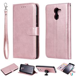 Retro Greek Detachable Magnetic PU Leather Wallet Phone Case for Huawei Y7(2017) - Rose Gold